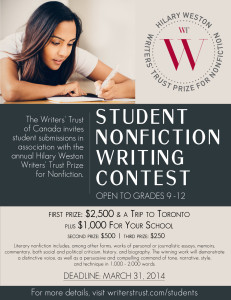 Writer's Trust Student Non-Fiction